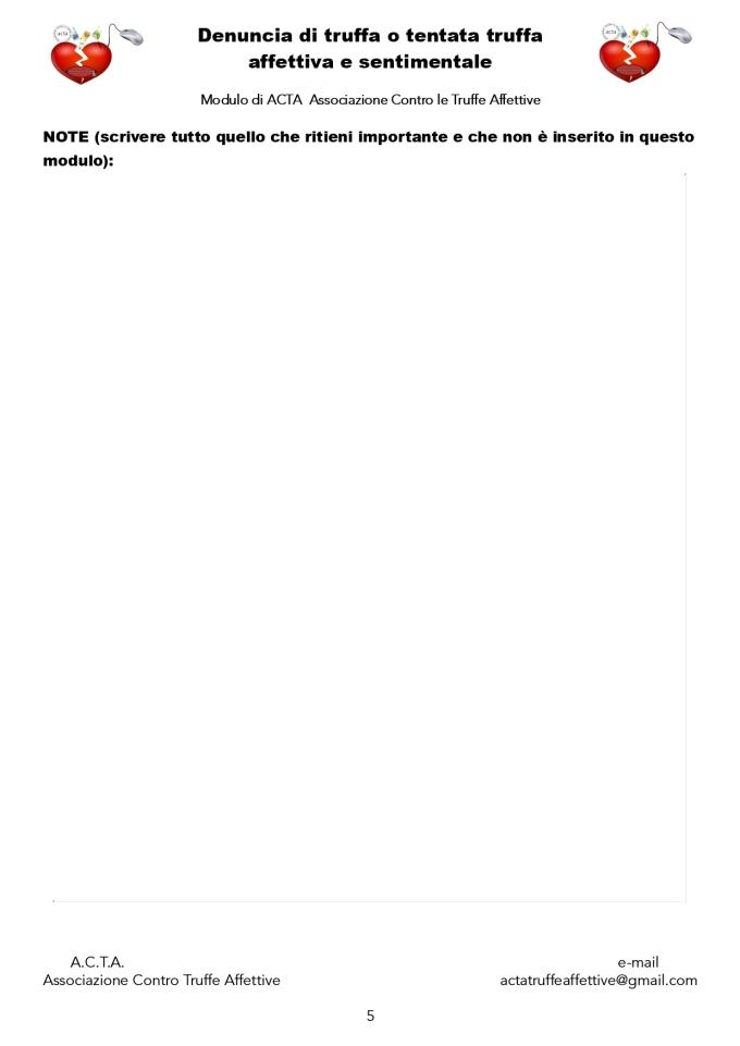 ACTA modulo di denuncia truffa affettiva e sentimentale - pagina 5